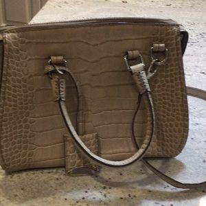 Danier Leather taupe faux croc pattern purse